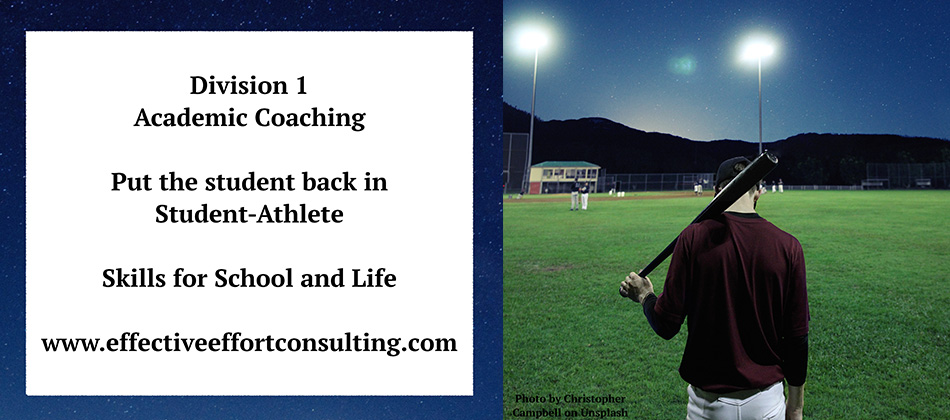 Division 1 Academic Coaching - Put the student back in Student Athlete - skills for school and life